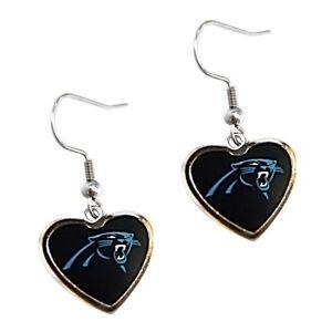 Carolina Panthers Football Team NFL Color Heart Charm Silver Dangle Earrings