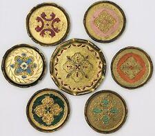 (7) Vintage Italian Florentine Tole Coasters Barware -(6)3.25� & (1)4.25�