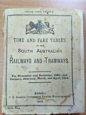 S.A. Railways and Tramways 1893 Time and Fare Tables 39th Edition