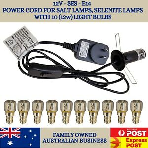 SES E14 12V Power Cord for Salt Lamp and Selenite Lamps with 12W Light Bulbs