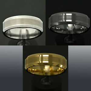 8Mm Brushed Center Tungsten Carbide ring Wedding Band Mens Jewelry TR