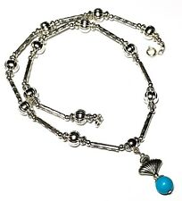 "16"" Silver Turquoise Choker Necklace Gemstone Bead Pendant Tibetan Vintage Style"