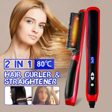 2 IN 1 Hair Straight Styler Straightener Ionic Curler Curling Ceramics Styling