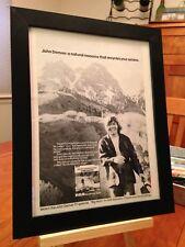 """FRAMED ORIGINAL & RARE JOHN DENVER """"ROCKY MOUNTAIN HIGH"""" LP ALBUM CD PROMO AD"""