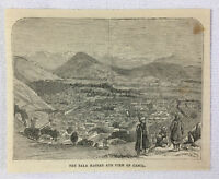 1878 magazine engraving ~ BALA HASSAR AND VIEW OF CABUL Afghanistan