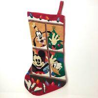 "Vintage 19"" Disney Needlepoint Christmas Stocking Mickey Mouse Goofy Donald Duck"