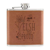 I'm Welsh And Proud 6oz PU Leather Hip Flask Tan - Funny Wales Flag