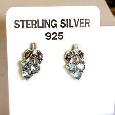 100% Genuine 925 Sterling Silver Vintage Marcasite Blue Topaz Stud Post Earrings