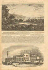 New York, Wall Street Ferry Buildings, Vintage 1853 Antique Print,