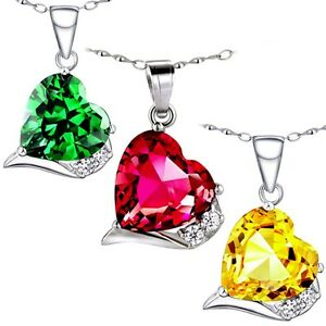 """6.06 Cttw .925 Sterling Silver Heart Cut Gemstone Pendant Necklace w/ 18"""" Chain"""
