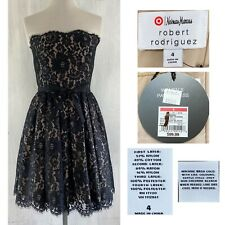 ROBERT RODRIGUEZ Neiman Marcus for TARGET Women's 4 Black Lace Bustier Dress NEW