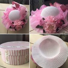 Antique Handmade Doll Hat Pink Lace And Floral 🌸 Design with Original Hat Box