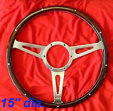 CLASSIC RIVETED  HIGH QUALITY DARK WOOD  STEERING WHEEL 15""