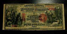1875 Series 5 Dollars Villisca Iowa #2766 National Currency Note ~ Nice!