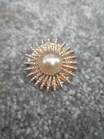 Vintage Gold tone Brooch Faux Pearl Centre 50s 60s