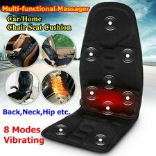8 Mode Vibrating Heated Back Massage Seat Cushion Car Seat Chair Massager Black
