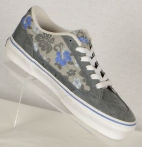 Vans Womens Bearkitty Sneakers Size 5.5M Gray Leather Violet Floral Lace Up Flat
