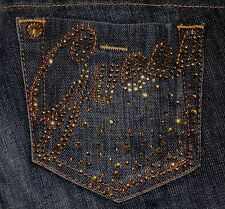 Guess Daredevil Blue Jeans Boot Cut Gold Bling Sequins Factory Faded Size 26