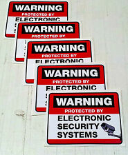 Set of 5 SECURITY ALARM PROTECTION AND SURVEILLANCE STICKERS windows/doors