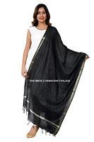 Indian Art Silk Woven Chanderi Long Stole Banarasi Dupatta Shawl Black Scarf