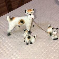 Vintage Japan Fox Terrier Schnauzer Dog w/ Pups On Chain Leash Ceramic Figurines