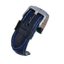 18mm Black Padded Leather Watch Strap Band Quick Release Spring Bar Blue Stitch