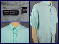 Roundtree & Yorke Blue S/S Btn Front Camp Hawaiian Casual Shirt Mens XL LINEN