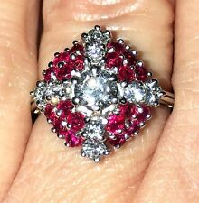 ESTATE 18K WHITE GOLD PIGEON BLUE RED RUBY DIAMOND ANTIQUE RING