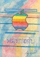 ANDY WARHOL HAND DRAWN AND SIGNED APPLE / MACINTOSH  WATERCOLOR ON PAPER C. 1984