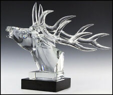 Baccarat Large Crystal Stage Deer Head Sculpture Signed French Rare Glass Art