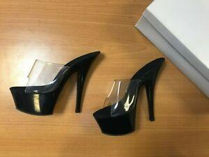 Maya Star Women's Platform Pole Dancing Slip On Stiletto Shoes Black UK Size 3