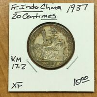1937 French IndoChina 20 Centimes SILVER Coin, KM# 17.2, XF, ID2315