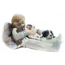 """Lladro #1535 """"Sweet Dreams"""" Young Boy Sleeping with Puppies & Their Mother"""