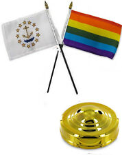 "State Rhode Island & Rainbow Gay 4""x6"" Flag Desk Set Table Stick Gold Base"