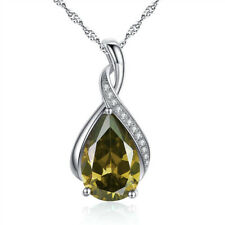 "925 Sterling Silver Necklace PEAR Cut Created Emerald Pendant 18"" Chain"