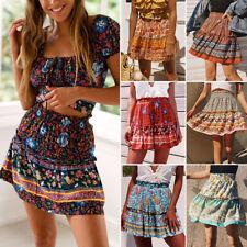 Falda corta para mujer de la colmena elástico en la Cintura de Verano Informal Mini Faldas Bohemia Floral