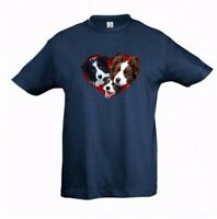 Border Collies in Heart Kids Dog-Themed Tshirt Childrens Tee Shirt Xmas Gift