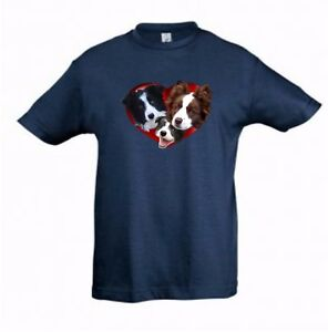 Border Collies in Heart Kids Dog-Themed Tshirt Childrens Tee Check Measurements