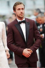 Maroon Tuxedo Jacket,Dark Burgundy Men Wedding Suit,Custom Made Burgund Men Suit