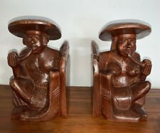 Asian Hand Carved Primitive Wood Bookends Rustic Art Figurines Man & Woman