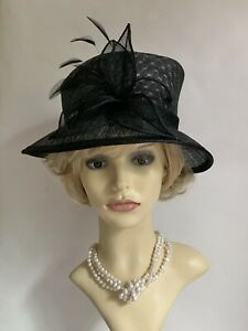 BHS Black Unlined Straw Hat Feather Flash Sinamay Ribbon & Flower Detail