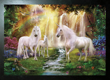 BLACK FRAMED WATERFALL UNICORNS - 3D MOVING PICTURE 465mm X 365mm