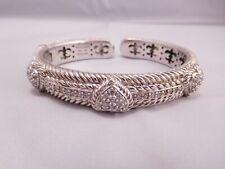 Silver Heart Cz Cuff Bracelet Quality Authentic Designer Judith Ripka Sterling