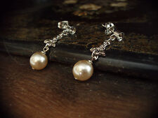Vintage Marcasite and Pearl Drop Earrings