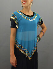 Top Indian belly Dance Bollywood Party Wear Gold Blue Sequins by Devs Costumes