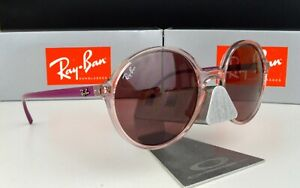 NEW Ray Ban Round Sunglasses RB4304 6400/75 Transparent Pink / Dark Violet 53mm