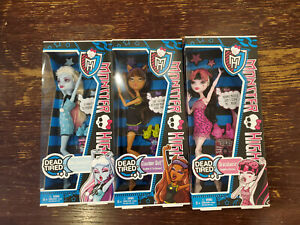 2012 Mattel Monster High Dead Tired Lot (3) Abbey Clawdeen Draculaura NIB