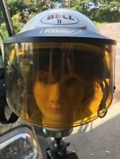 Nice Vintage Medium White Shorty Racing Motorcycle Bell Half Helmet w/ Sun Visor