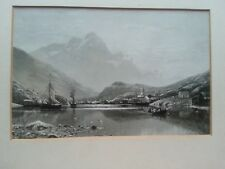 ANTIQUE PRINT BY ADELSTEEN NORMANN OF FJORDS OF NORWAY FISHING ART