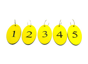 Set of Yellow Key Fobs Numbered 1 to 5, Oval, Acrylic, Black Engraved Numbers